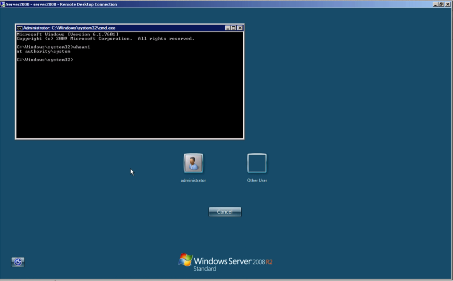 Command Prompt running with SYSTEM privileges