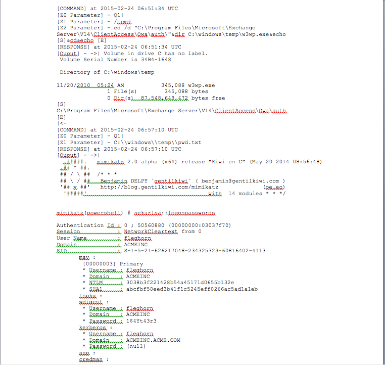Figure 2. Sample portion of output from decode module showing 'mimikatz' execution.