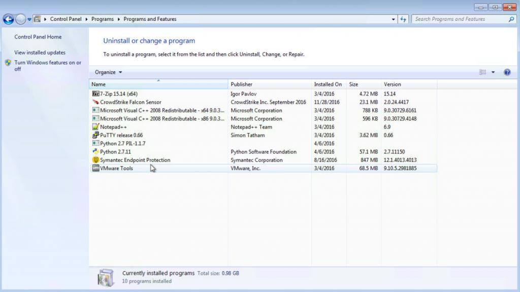 Windows control panel remove programs