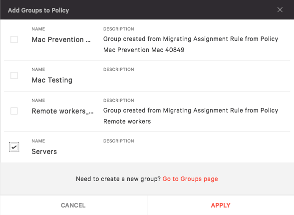 Add a group to a policy