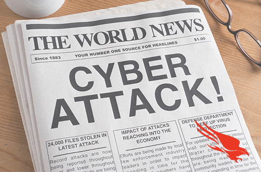 Newspaper with Cyber Attack Headline