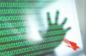 Hacker hand over binary code