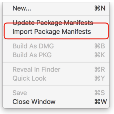 Import Package Manifests