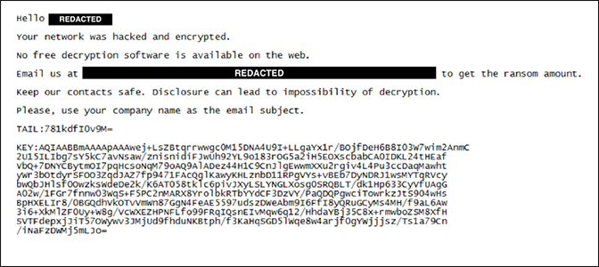 screenshot of BitPaymer ransom note