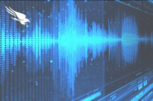 blue sound waves on a computer screen