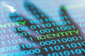 "text:computer screen with binary code and the word ""identify"""