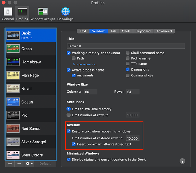 Profiles terminal apps settings window