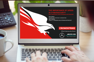 laptop with CrowdStrike CrowdCast title screen