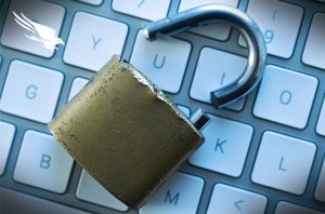 picture of keyboard with broken padlock on it