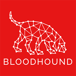 BloodHound logo white lines on red