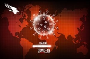 Coronavirus on map of world with computer loading bar