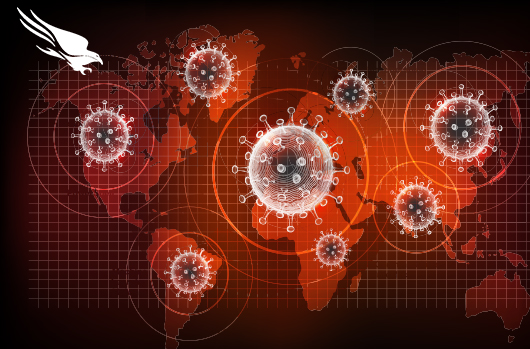 picture of coronavirus molecules over map of the world
