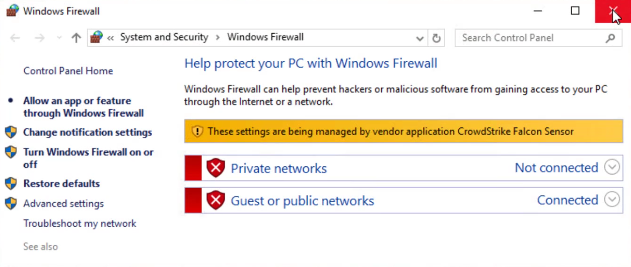firewall enforce on windows