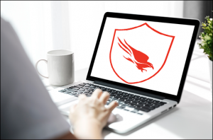 remote worker's laptop with CrowdStrike logo on screen