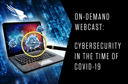 webcast banner with laptop and magnification of covid19
