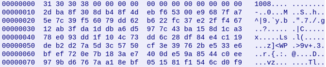 screenshot of encrypted ASCII-encoded message