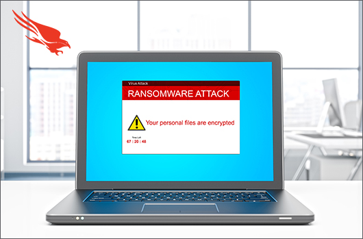 Laptop With Ransomware Attack Message