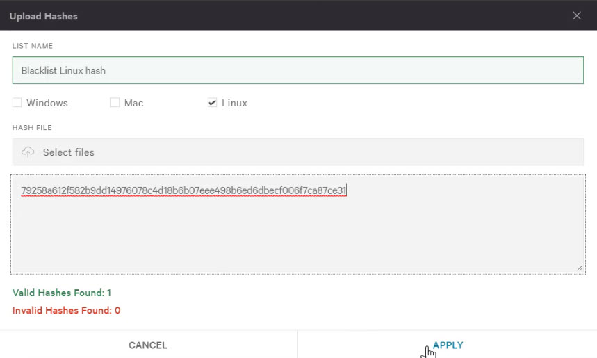 linux blacklist hash