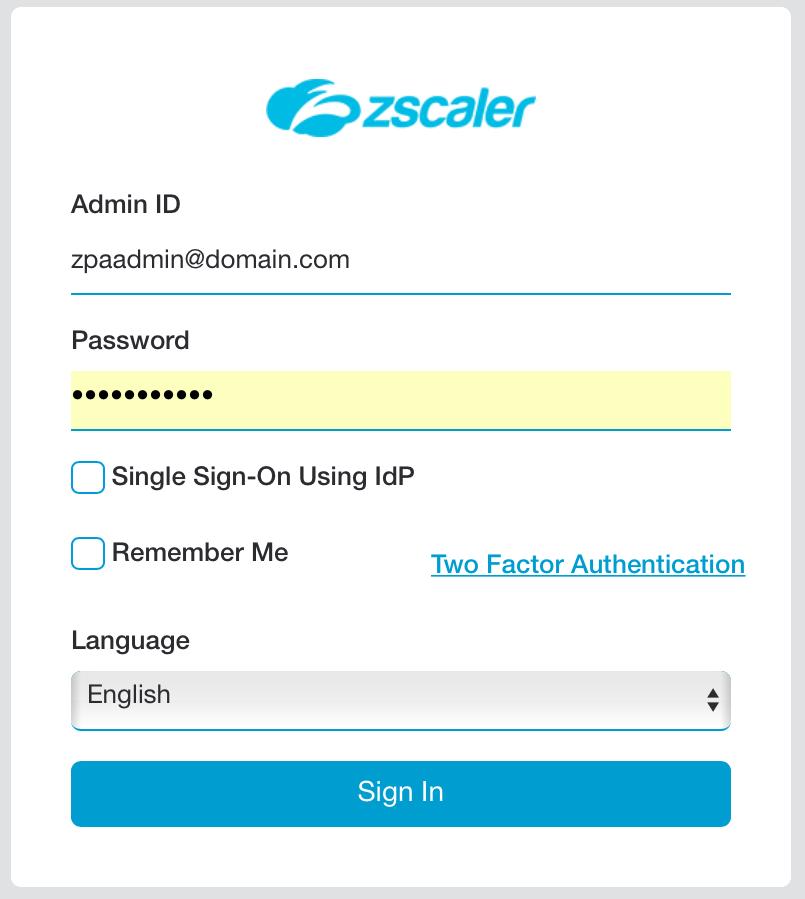 zscaler ZPA login