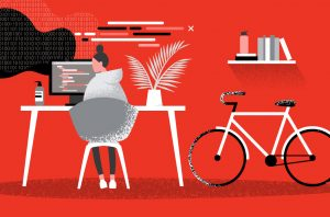 illustration of person at laptop with desk and bike