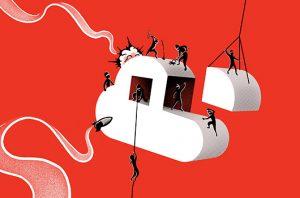 illustration of burglars destroying a cloud