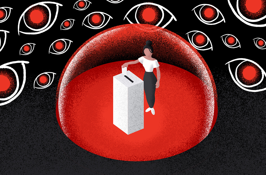 black and red illustration of person voting