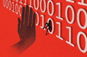 image of hand blocking hacker entering through code