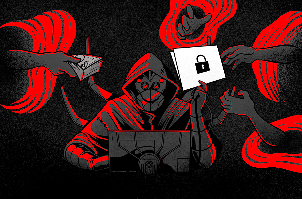 Illustration Of Adversary Surrounded By Hands With Money And A Padlock