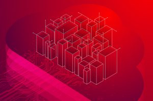 illustration of red cube city