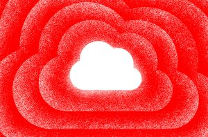 illustration of white cloud on red background