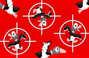 illustration of 3 ducks in crosshairs