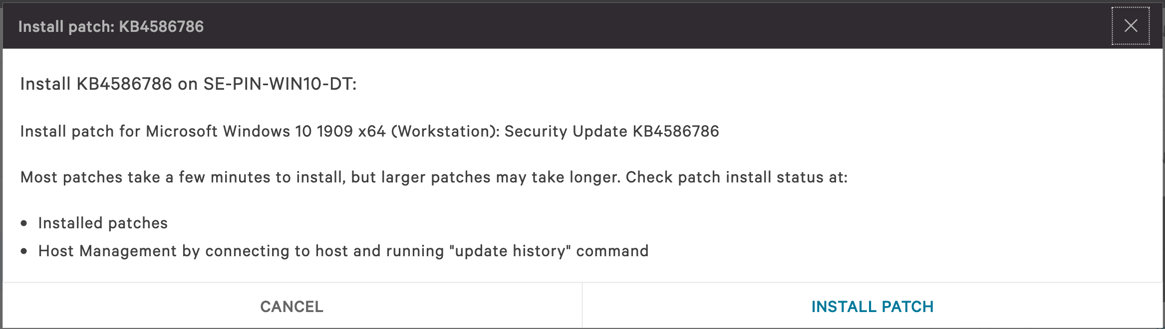 Install patch confirmation window