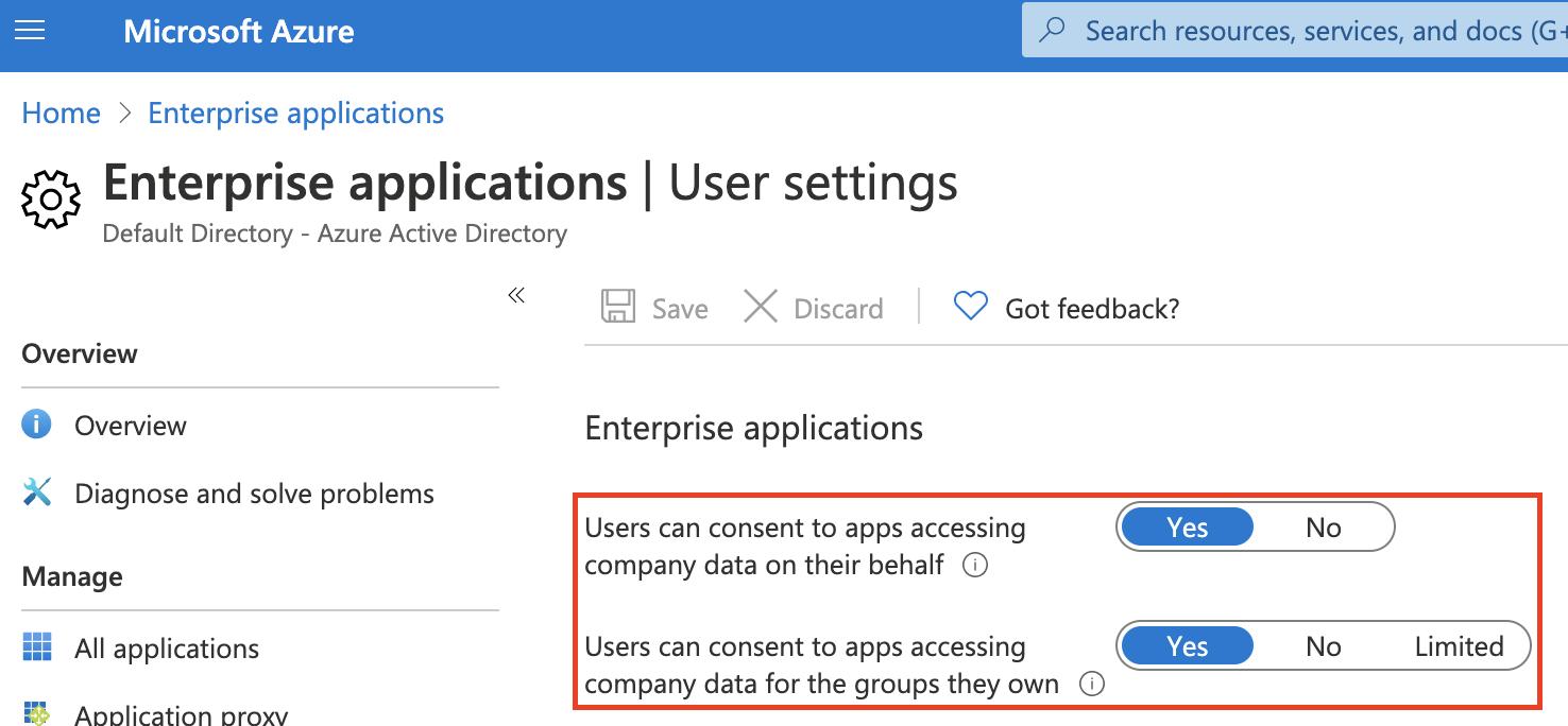 Azure enterprise apps user settings