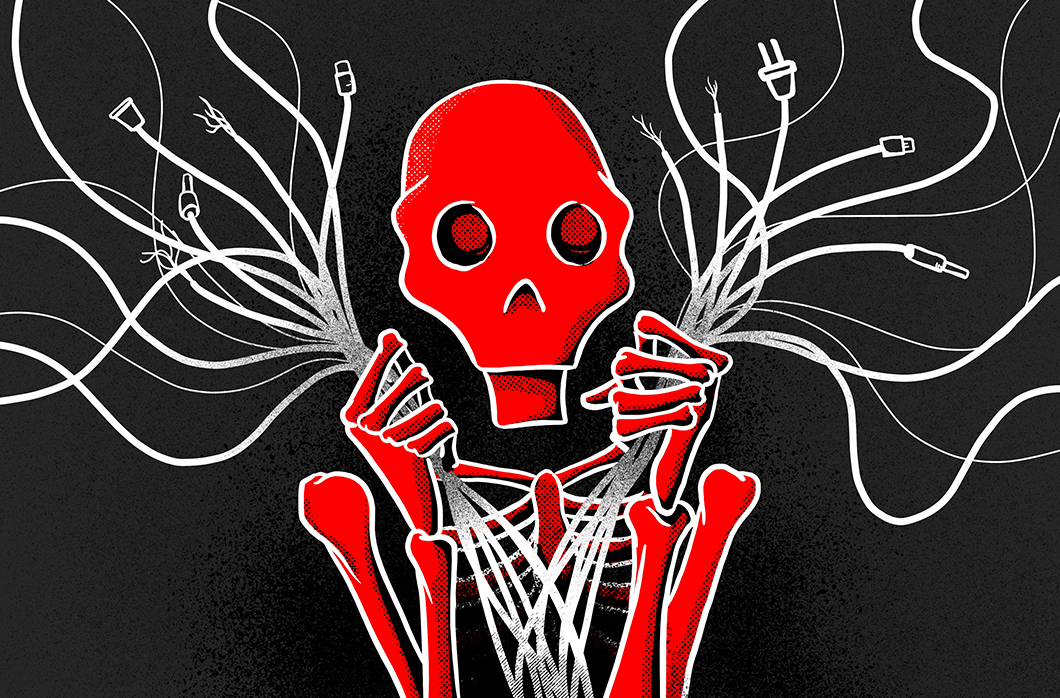 illustration of red skeleton holding cables