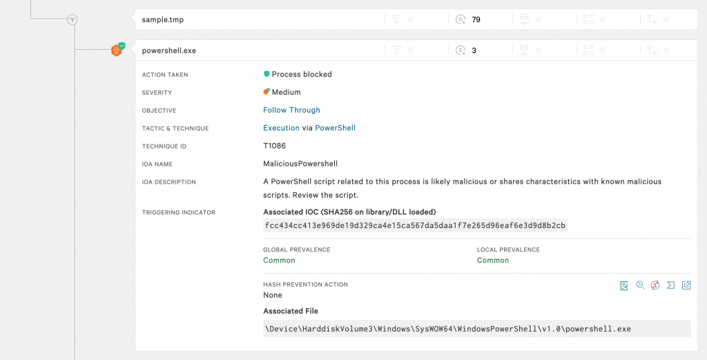 Falcon UI showing detection and prevention