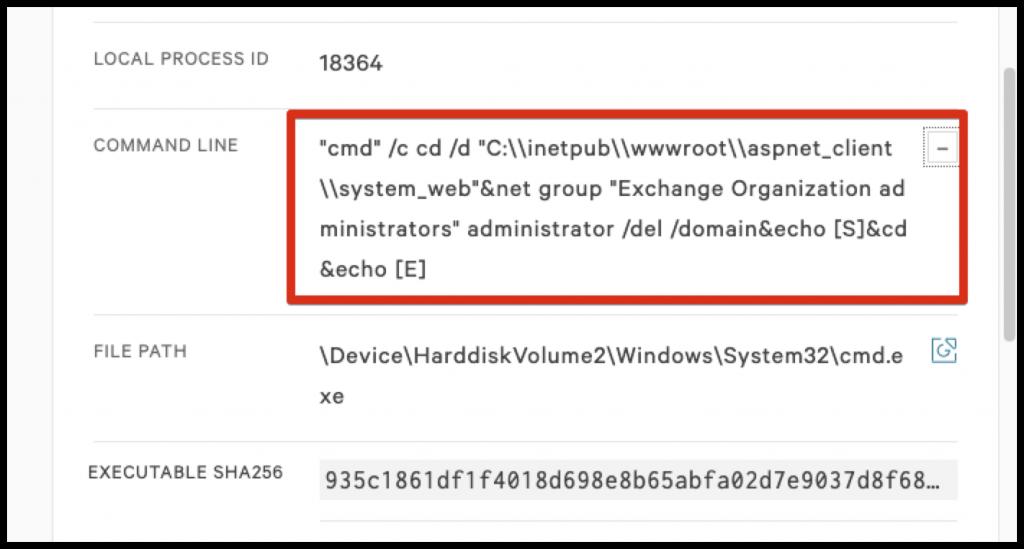 Figure 3. Webshell command