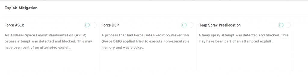 Exploit settings