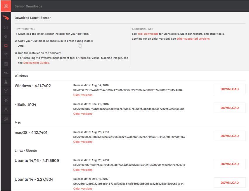 Host sensor download page
