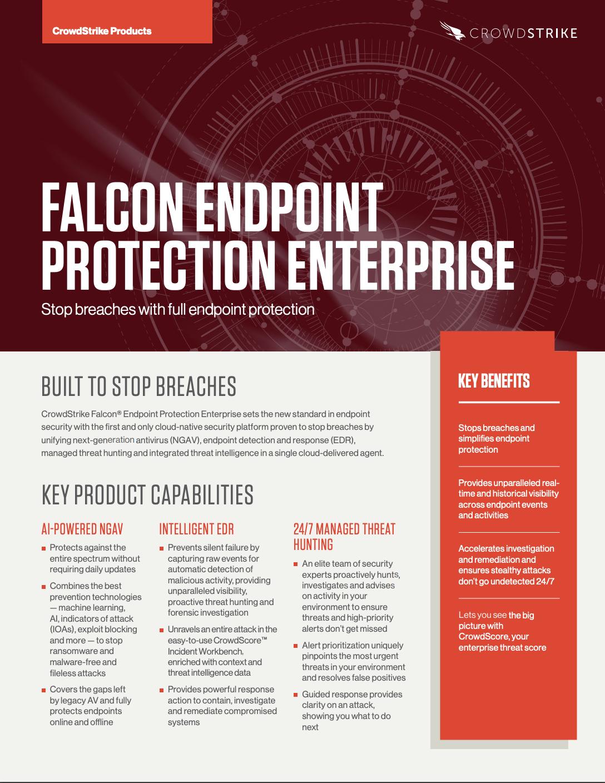 Falcon Enterprise For Endpoint Protection Data Sheet Crowdstrike