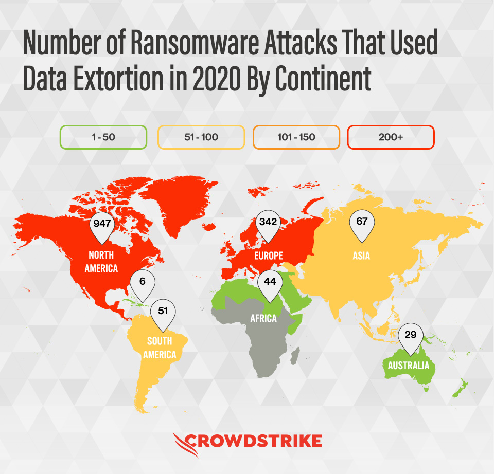 Global Map Showing The Distribution Of Ransomware Attacks That Used Data Extortion In 2020