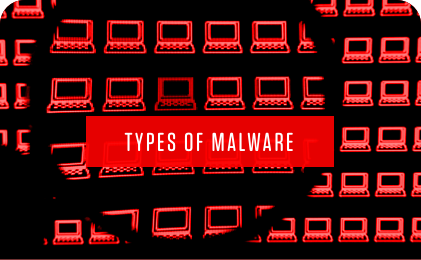 types of malware in text with numerous red computers