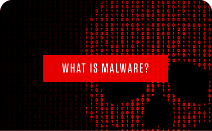 what is malware title with binary code shaped like a red skull