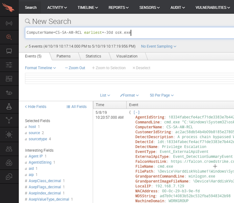 event search dashboard from the falcon platform