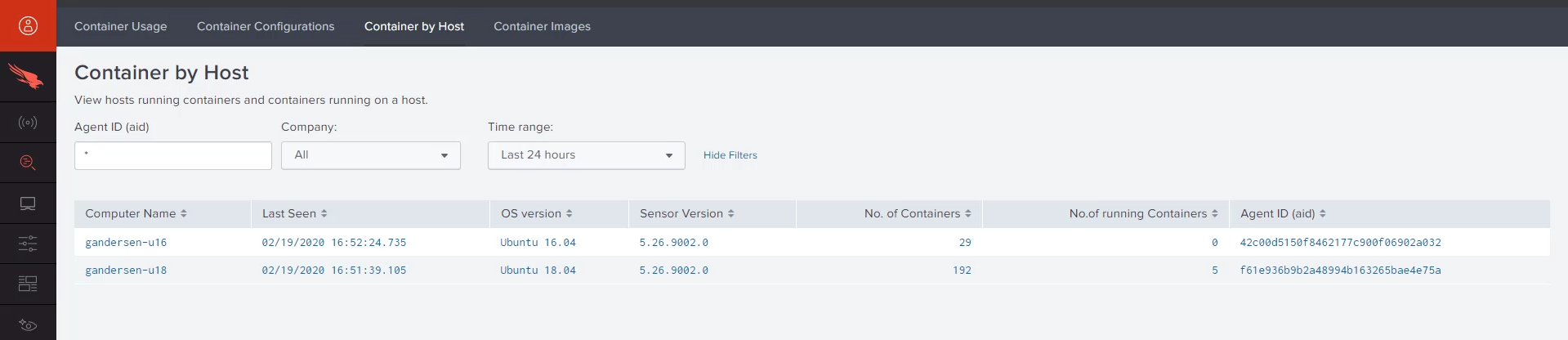 container host dashboard