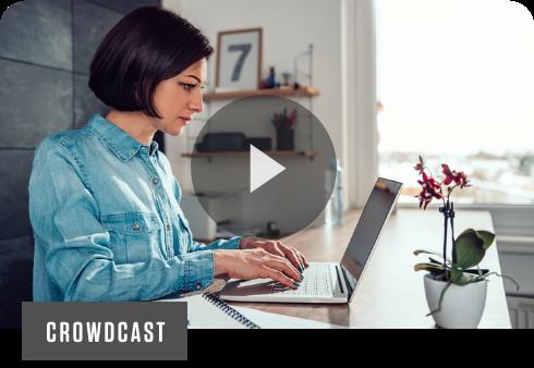 female remote worker at desk