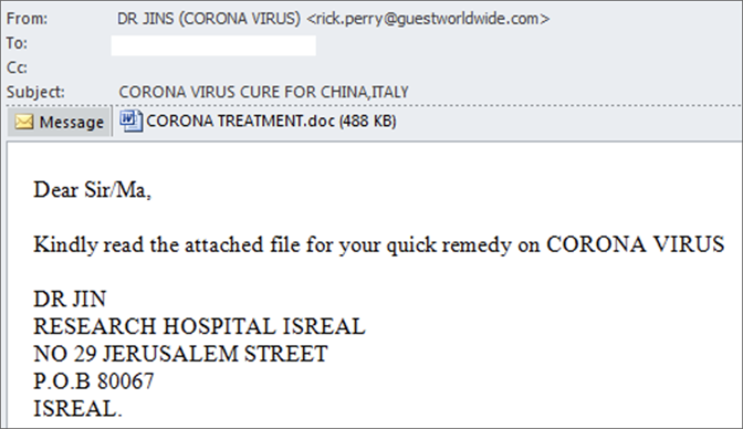 example phishing email impersonating a doctor