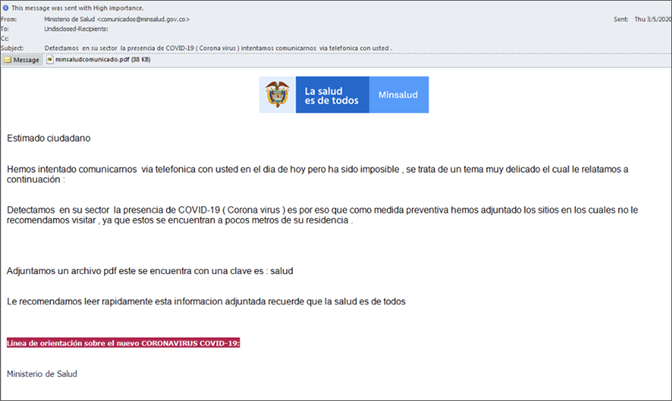 example of phishing email scam impersonating a government