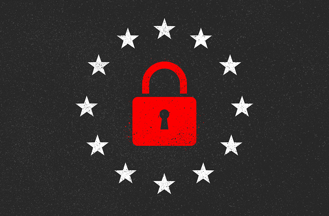 padlock and stars on black background