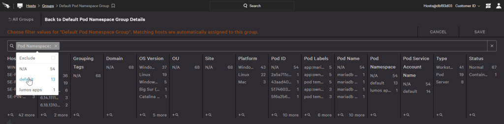 Group filters for pods